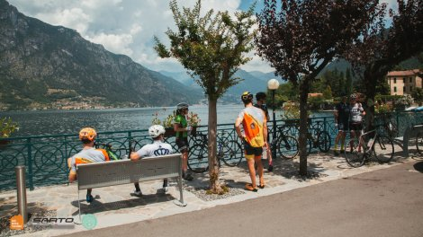 Ride Leaders with guests at the lake Lugano in Como Italy at Luxury Private bike vacations with HC Bike Tours